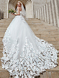 cheap -Ball Gown Wedding Dresses Strapless Court Train Tulle Strapless Country Glamorous Plus Size with Crystals Flower 2020