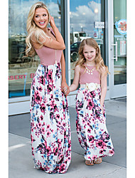 cheap -Toddler Mommy and Me Basic Sweet Party Going out Floral Color Block Patchwork Print Sleeveless Maxi Dress Blushing Pink