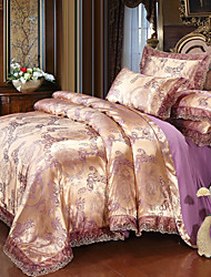 cheap -Duvet Cover Sets Luxury Polyster Printed & Jacquard 4 PieceBedding Sets / 300 / 4pcs (1 Duvet Cover, 1 Flat Sheet, 2 Shams)