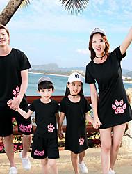cheap -Family Look Active Beach Animal Short Sleeve Blouse Black