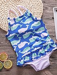abordables -Enfants Fille Basique Sports Géométrique A Volants Lacet Imprimé Coton Maillot de Bain Bleu clair