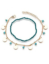cheap -Ankle Bracelet Ladies Vintage Ethnic Women's Body Jewelry For Going out Birthday Long Floating Turquoise Copper Alloy Gold Silver 2pcs