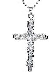cheap -Women's Cubic Zirconia Pendant Necklace Thick Chain Cross Ladies Classic Fashion Alloy Silver 45+5 cm Necklace Jewelry 1pc For Daily