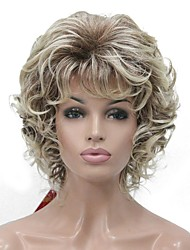 cheap -Synthetic Wig Curly Middle Part Wig Blonde Short Blonde Synthetic Hair Women's Kanekalon Hair Blonde StrongBeauty