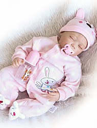 cheap -24 inch Reborn Doll Baby Girl Newborn lifelike Gift Non Toxic Tipped and Sealed Nails Cloth 3/4 Silicone Limbs and Cotton Filled Body with Clothes and Accessories for Girls' Birthday and Festival