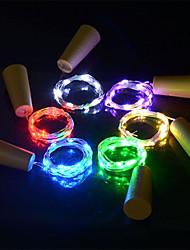 abordables -6pcs 15-led 0.75m fil de cuivre lumière avec bouchon de bouteille pour verre artisanat bouteille fée valentines décoration de mariage lampe fête