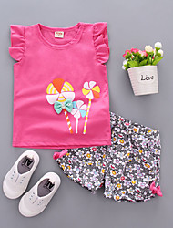 cheap -Baby Girls' Casual / Active Daily / Going out Sun Flower Floral Print Short Sleeve Regular Cotton Clothing Set Blushing Pink / Toddler