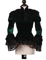 cheap -Cosplay Lolita Rococo Costume Women's Blouse / Shirt Cloak Green / Black Vintage Cosplay Pleuche Long Sleeve Puff Sleeve