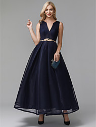cheap -A-Line Elegant Minimalist Cocktail Party Prom Dress V Wire Sleeveless Ankle Length Spandex with Sash / Ribbon 2020