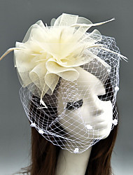 cheap -Feather / Net Kentucky Derby Hat / Fascinators / Hats with Feather / Floral / Flower 1pc Wedding / Special Occasion Headpiece