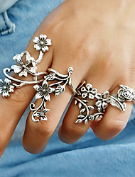 cheap -Women's Band Ring Rings Set 4pcs Silver Alloy Ladies Vintage European Daily Jewelry Hollow Flower