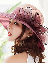 cheap -Women's Kentucky Derby Active Holiday Straw Lace Straw Hat-Solid Colored Ruffle Summer Gray Fuchsia Wine