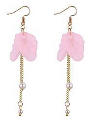 cheap -Women's Drop Earrings Long Flower Ladies Casual Fashion Imitation Pearl Earrings Jewelry Green / Pink / Dark Purple For Daily Going out 1 Pair