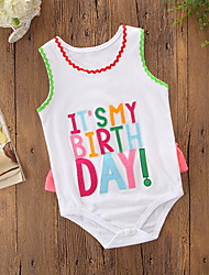 cheap -Baby Girls' Active / Basic Holiday / Birthday Print Print Sleeveless Romper White