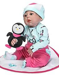 Недорогие -NPKCOLLECTION NPK DOLL Куклы реборн Кукла для девочек Девочки 24 дюймовый Полный силикон для тела Винил - Новорожденный Подарок Безопасно для детей Non Toxic / Искусственные имплантации Голубые глаза