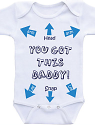 cheap -Baby Boys' Basic Daily Print Printing Short Sleeves Cotton Bodysuit White