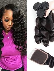 cheap -3 Bundles with Closure Peruvian Hair Wavy Human Hair Natural Color Hair Weaves / Hair Bulk Extension Hair Weft with Closure 8-22 inch Natural Color Human Hair Weaves Best Quality Hot Sale 100% Virgin