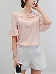 cheap -Women's Going out Weekend Blouse - Solid Colored Dusty Rose, Ruffle White