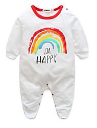 cheap -Baby Girls' Basic Daily Rainbow Printing Long Sleeve Cotton Romper White