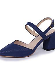 cheap -Women's Sandals Block Heel Sandals Block Heel PU Slingback Summer Red / Blue / Black / Party & Evening / Party & Evening