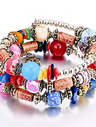 cheap -3pcs Women's Synthetic Tanzanite Bead Bracelet Layered Stack Ladies Vintage Fashion Multi Layer Wooden Bracelet Jewelry Rainbow / Red / Blue For Birthday Office & Career