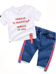 cheap -Toddler Boys' Active Print Short Sleeve Clothing Set White