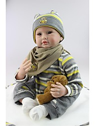 cheap -NPKCOLLECTION NPK DOLL Reborn Doll Baby Boy 24 inch Silicone - Newborn lifelike Child Safe Non Toxic Tipped and Sealed Nails Natural Skin Tone Kid's Boys' / Girls' Toy Gift