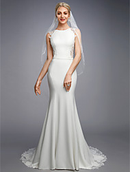 cheap -Mermaid / Trumpet Bateau Neck Court Train Chiffon / Lace Regular Straps Beautiful Back Made-To-Measure Wedding Dresses with Appliques / Buttons / Lace 2020