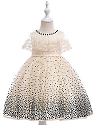 cheap -Kids Girls' Active Sweet Party Holiday Polka Dot Embroidered Sleeveless Knee-length Dress Blushing Pink / Cotton