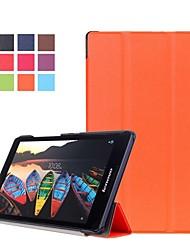 Недорогие -Кейс для Назначение Lenovo Lenovo Tab3 8 / Lenovo Tab 2 A8-50 со стендом / Флип Чехол Однотонный Твердый Кожа PU