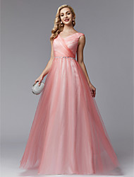 cheap -A-Line V Neck Floor Length Tulle Elegant / Color Block / Pastel Colors Prom / Formal Evening Dress 2020 with Beading / Side Draping / Criss Cross