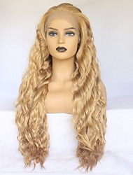 cheap -Synthetic Lace Front Wig Wavy Minaj Style Middle Part Lace Front Wig Golden Strawberry Blonde Synthetic Hair Women's Heat Resistant / Elastic / Women Golden Wig Long / Yes