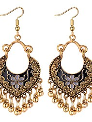 cheap -Women's Synthetic Tanzanite Drop Earrings Long Ladies Asian Vintage Ethnic Fashion Earrings Jewelry Black / Red / Blue For Going out Birthday 1 Pair