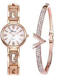 cheap -Women's Dress Watch Bracelet Watch Diamond Watch Quartz Stainless Steel Silver 50 m Creative Analog Ladies Elegant - Black Silver White / Gold One Year Battery Life
