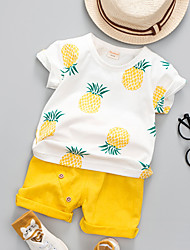 cheap -Baby Unisex Active Daily Pineapple Fruit Print Short Sleeve Regular Cotton Clothing Set Green / Toddler