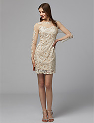 cheap -Sheath / Column Illusion Neck Knee Length Lace See Through Cocktail Party Dress with Beading / Lace / Bandage by TS Couture®