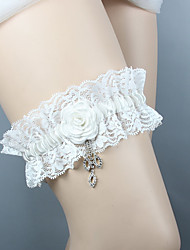 cheap -Chiffon Satin / Lace Classic Jewelry / Vintage Style Wedding Garter With Rhinestone / Floral / Ruffle Garters Wedding / Party & Evening