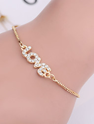 cheap -Women's Cubic Zirconia Chain Bracelet Tennis Chain Monograms Dainty Ladies Classic Korean Fashion Silver Plated Bracelet Jewelry Gold / Silver For Daily Valentine / Gold Plated