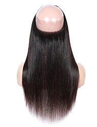 cheap -Fulgent  Sun Brazilian Hair 360 Frontal Straight Free Part Chinese Lace Human Hair Women's Lace Closure Christmas / Christmas Gifts / Wedding