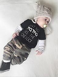 cheap -Baby Unisex Active Daily Print Long Sleeve Regular Regular Cotton Clothing Set Black
