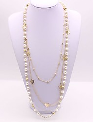 cheap -Women's Layered Necklace Long Necklace Long Double Rosary Chain Flower Ladies Classic Fashion Imitation Pearl Alloy Gold 56+5 cm Necklace Jewelry 1pc For Daily