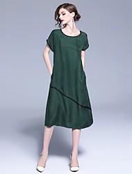 cheap -Women's Green Dress Basic Summer Daily Shift Geometric S M