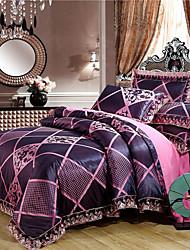 cheap -Duvet Cover Sets Luxury Polyster Jacquard 4 PieceBedding Sets / 300 / 4pcs (1 Duvet Cover, 1 Flat Sheet, 2 Shams)