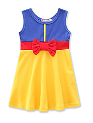 cheap -Toddler Girls' Active Sweet Daily Holiday Color Block Bow Sleeveless Dress Yellow