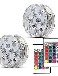 cheap -2pcs 10leds RGB Led Underwater Light Pond Submersible Waterproof Swimming Pool Light Battery Operated for Wedding Party