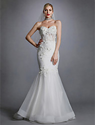 cheap -Mermaid / Trumpet Sweetheart Neckline Sweep / Brush Train Lace / Tulle Strapless Open Back Wedding Dresses with Lace / Appliques 2020