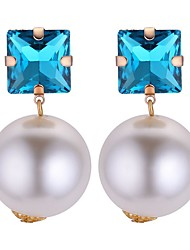 cheap -Women's AAA Cubic Zirconia Drop Earrings Sculpture Ladies Fashion Imitation Pearl Earrings Jewelry Champagne / Blue / White For School Birthday 1 Pair