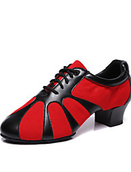 cheap -Women's Dance Shoes Canvas / Faux Leather Jazz Shoes Heel Thick Heel Customizable Black / Black / Red