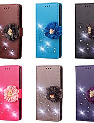 Недорогие -Кейс для Назначение HTC HTC U11 / HTC U Ultra / HTC U Play Кошелек / Бумажник для карт / Стразы Чехол Однотонный / Цветы Твердый Кожа PU