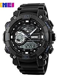 Недорогие -SKMEI Муж. Спортивные часы электронные часы Цифровой силиконовый Черный 30 m Защита от влаги Календарь Фосфоресцирующий Аналоговый Цифровой На каждый день Мода - Черный Красный Синий / Один год